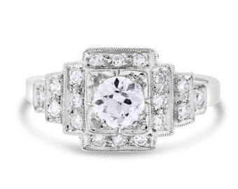 0.71 Ct. Natural Fine Quality Diamond Vintage Step Engagement Ring In Solid Platinum