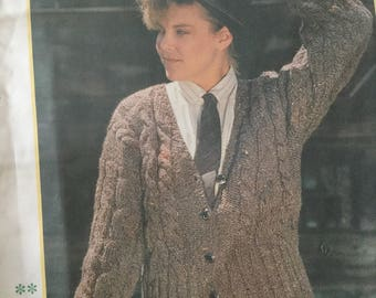 1980's ladies short cabled cardigan pattern