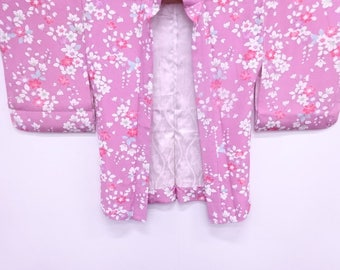 japanese vintage silk haori chirimen floral plants