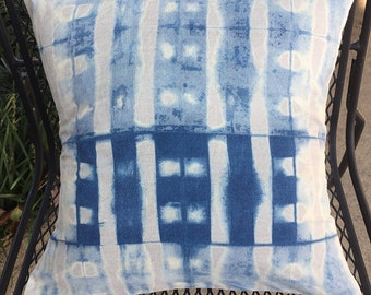 Hand Dyed Shibori Linen Pillow Cover
