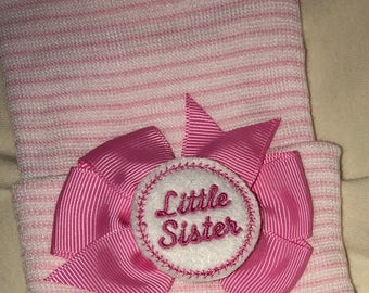 Our Popular Newborn 2 Ply Hat with Little Sister Embellishment on Bow Newborn Hospital Beanie.  Baby Newborn Hats.  Little Sister