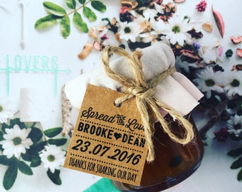 Mini Jam Jar & Honey Wedding Favours / Bonbonniere / Favors
