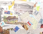 Vintage Australia paper ephemera pack: 35 pieces craft paper including maps, pictures, stamps Craft supply for scrapbooks, journals EP583