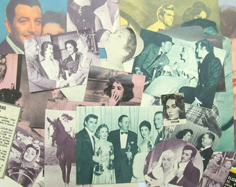 Elizabeth Taylor vintage magazine clippings. Ephemera pack of 25 1950s paper pieces. Supply for decoupage, scrapbook, collage, journal EP581