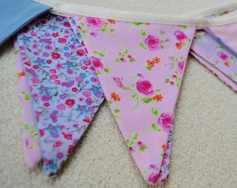 Double sided shabby chic floral cotton bunting