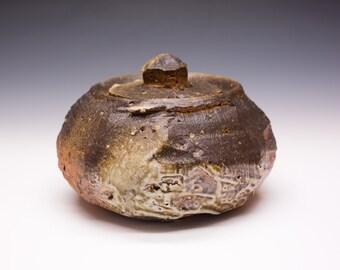 Wood Fired Porcelain Blend Lidded Vessel, 0535001