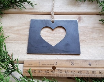 Love Wyoming State Steel Ornament Rustic WY Metal State Heart Host Gift Keepsake Travel Wedding Favor By BE Creations