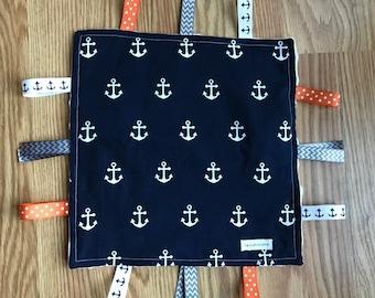 Navy Anchor Lovey, Security Blanket, Nautical Lovey, Nautical Sensory Blanket
