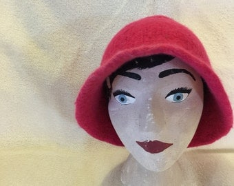 Bamboo and sheeps wool felted bright pink hat