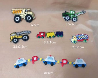 Wholesale Lot  12pcs  Truck train  car  embroidered iron on patch boy apparel  2-3cm