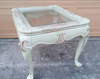 Glass Top Table, End Table, Cottage Chic Decor, Distressed Table, Beach  Decor