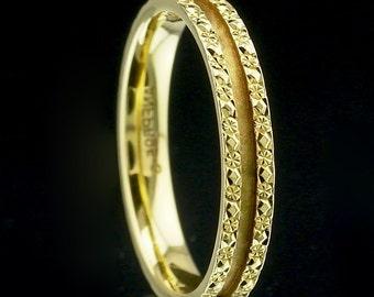 Gold Wedding Band Ring 18K yellow gold size US 6.25, UK M