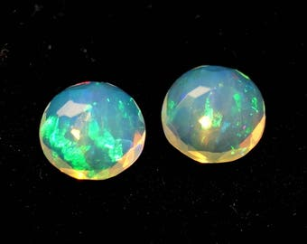 50% OFF - Loose Opal Stone - Faceted Opal Pair Gemstone - 6x6mm Round Opal Stone - October Birthstone (EO-48)