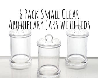 "6 Pack of 3.25"" x 2"" Mini Clear Plastic Apothecary Jar with Lid, Mini Glass Jar, Wedding Favor Container, Candy Jar, Cylinder Jar Container"