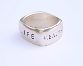Chunky One Off Silver Ring // Hope Faith Life Health Logo // Size R // Ladies Accessories // Made in England