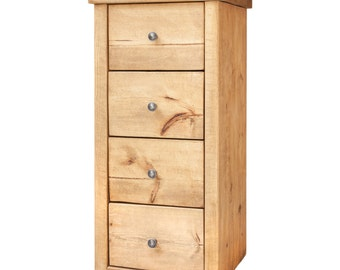 Tall Boy Chest of Drawers Handmade Chunky Solid Wood with a Choice of Different Rustic Wax Finish Colours 4 Drawer