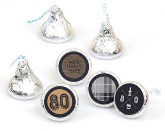 Hershey Kiss® Stickers - 80th Birthday - Round Candy Label Party Favors -Milestone Aged to Perfection - Hershey Kisses Label - 108 per Sheet