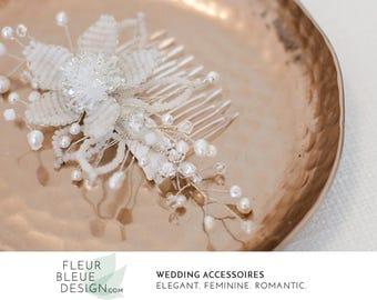 wedding headpiece | bridal fascinator | wedding hair comb | beaded comb | bridal beaded comb | white wedding hair accessories