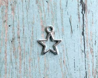 20 Tiny Star charms (2 sided) antique silver tone - silver star pendants, astronomy charms, galaxy charms, milky way charms, B13