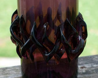 Vintage  Murano  Deep Amethyst Sculptured Art Glass Vase-One of a Kind