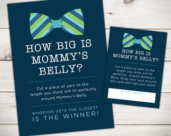How Big is Mommy's Belly Baby Shower Game- Printable Baby Shower Games - Baby Boy Baby Shower - Little Man