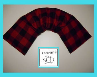 Microwavable Heating Pad, Neck Warmer, Rice Heating Pad, Flax Seed Heating Pad, Sunny Heat Pack, Red Black Squares, Buffalo Plaid