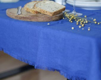 Royal Blue Tablecloths, Soft Table Cloth, Table Cloth, Linen Tablecloths,  Washed Linen