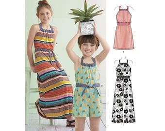 Simplicity Sewing Pattern 8395 Child's and Girls' Halter Dress or Romper in Two Lengths