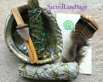 Smudge Kit~ FRESH Start: White Sage/ Palo Santo/ Cedar/ Sml Abalone Shell/ Feather/ Arrow/ GIFT Starter Kit. Smudge Instructions