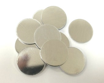 10 to 100 round pendant blanks 1/2 inch to 1 inch 14 Gauge Polished Pendant Blanks Pure Aluminum - flat - optional hole punched in blank