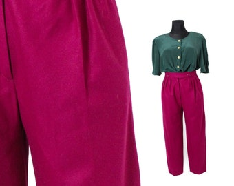 Fuchsia trousers, Wool trousers womens, Pleated trousers, Tapered trousers, High waist pants, Minimal Chic 90s Vintage clothing / Small W 27