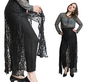 Lace pants, Black pants, Black lace pants, Mesh pants, Wide leg pants, Sheer pants, Womens pants, Vintage pants, 70s pants / Small Medium