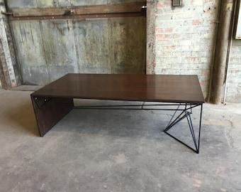 Modern Walnut Coffee Table, Geometric Welded Steel Base, Solid Wood