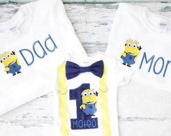 Boy Birthday Minion Themed Cake Smash Outfit, Jerry The Minion bow tie suspender set cake smash outfit, Boy first birthday, Boy number 1