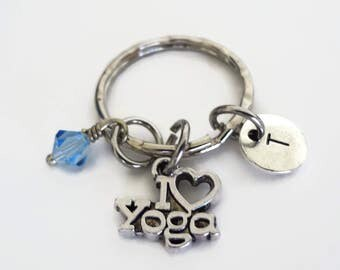 Personalized keyring with initial and Swarovski Birthstone - I love Yoga Charm - Custom Keychain - Meditation, Namaste, Om Ohm Gift