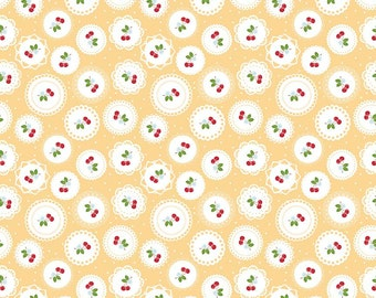 Doily Yellow  1  Yard Cut from Sew Cherry 2 by Lori Holt for Riley Blake Fabrics