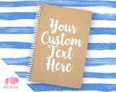 "Spiral Notebook - Custom Notebook - 100% Recycled - Kraft Notebook - Kraft Journal - Personalized Gift - 5.5x8.5"" - BB04001"