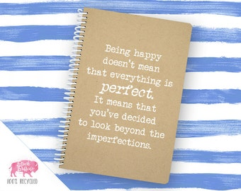 Spiral Notebook | Spiral Journal | Planner | Notepad | 100% Recycled | Being Happy | BB031LG