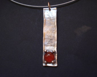 Modern Garnet Silver Pendant Hammered Sterling Silver 925 Necklace Geometric Sterling Silver Handmade Minimal Necklace