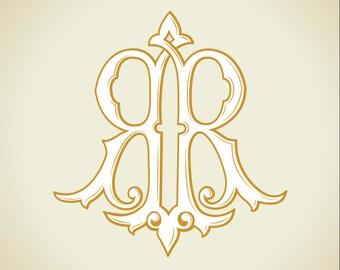 Vintage Monogram RR | Wedding logo | Wedding Clip Art