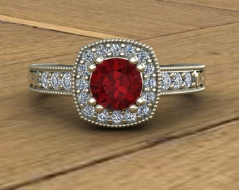 Ruby engagement ring | Etsy