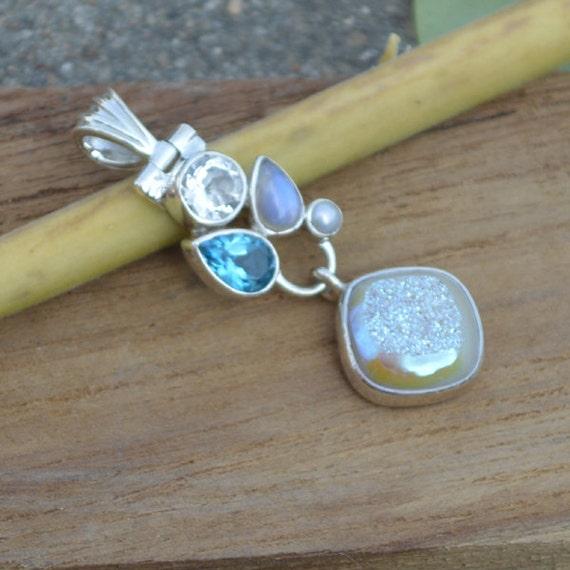 Titanium Druzy, Crystal Pendant - 925 Sterling Silver Pendant -Blue Topaz Pendant - Artisan Handmade Pendant Jewelry