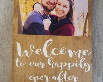 wedding date family name photo sign