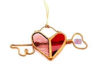 Stained Glass Wire Key To My Heart Suncatcher Ornament,  Heart Sun Catcher, Red Pink Heart, Whimsical, Gift For Her, Wedding, Anniversary