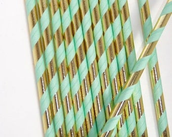 25pc Mint and Gold Straws