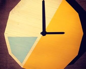 Dodeca Wall Clock (yellow/grey