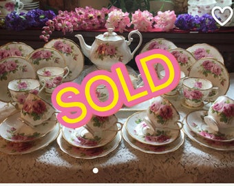 SOLD! Royal Albert American Beauty tea set for eight. 29 pieces.