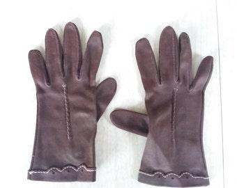 Vintage Chocolate Brown Gloves Wrist Length