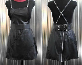Overall Leather Dress- Belt at waist- Recycled - One of a Kind -