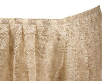 Polyester Table Skirt, Lace Table Skirting, 14ft & 17ft Table Skirt, Wedding, Banquet Table Skirt, Table Drape,